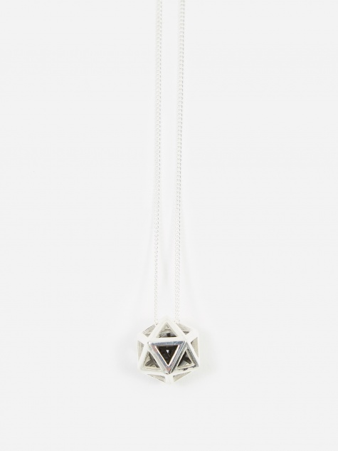 Icosa Large Pendant - Sterling Silver/Black