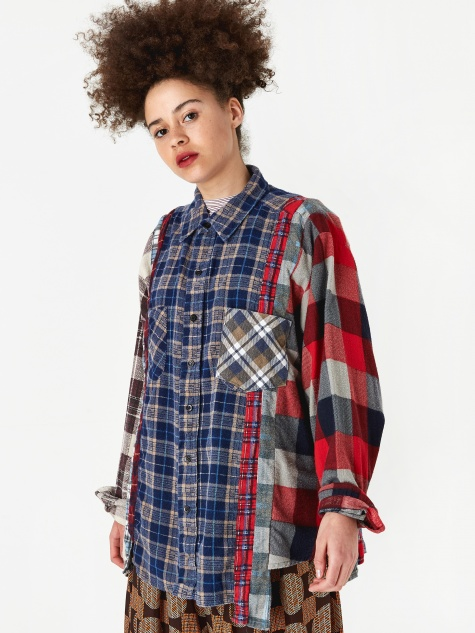 Wide 7 Cuts Flannel Shirt One Size 5 - Assorted