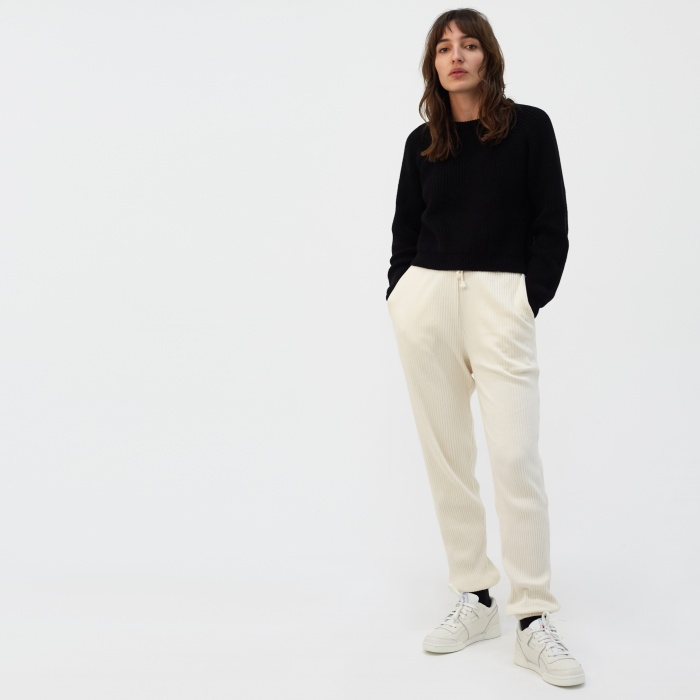 Baserange Basic Rib Sweat Pant - Off White (Image 1)