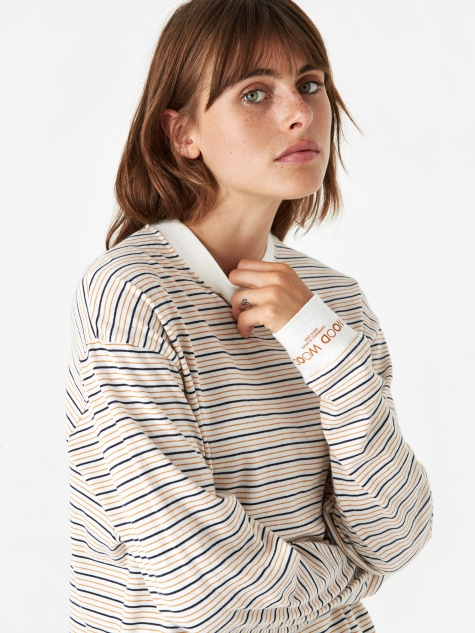 Astrid Longsleeve T-Shirt - Off White Stripe