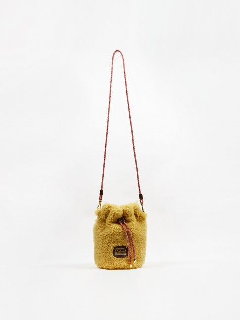 Aries Mini Drawstring Sheepskin Bag - Ochre