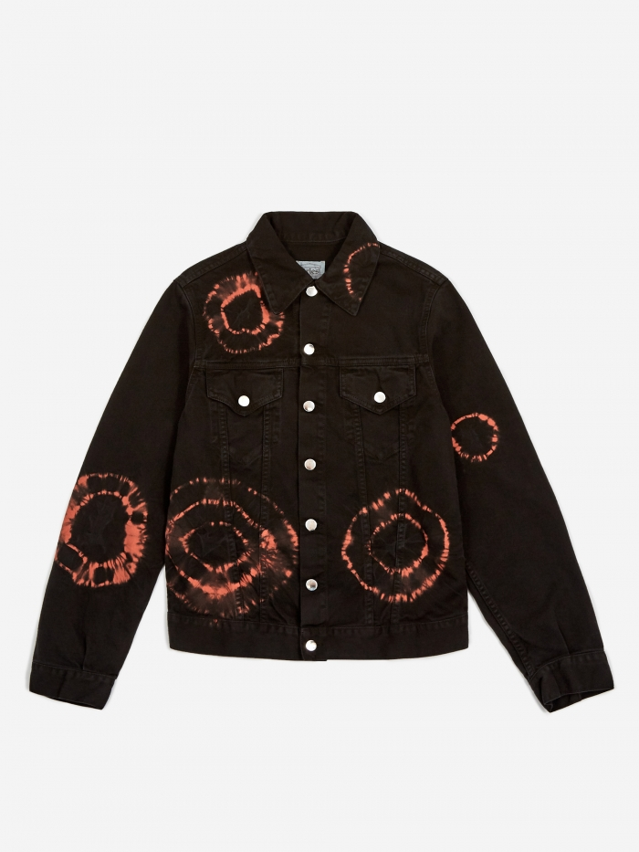Aries Tie Dye Trucker Jacket - Black/Orange (Image 1)