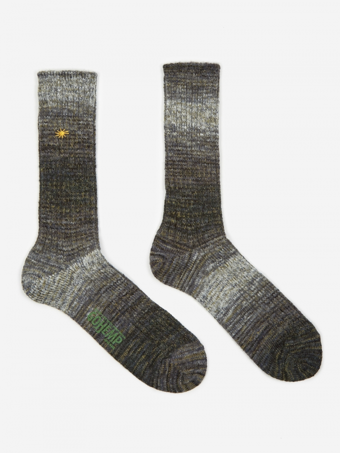 Anonymous Ism GO HEMP Splash Crew Sock - Grey (Image 1)
