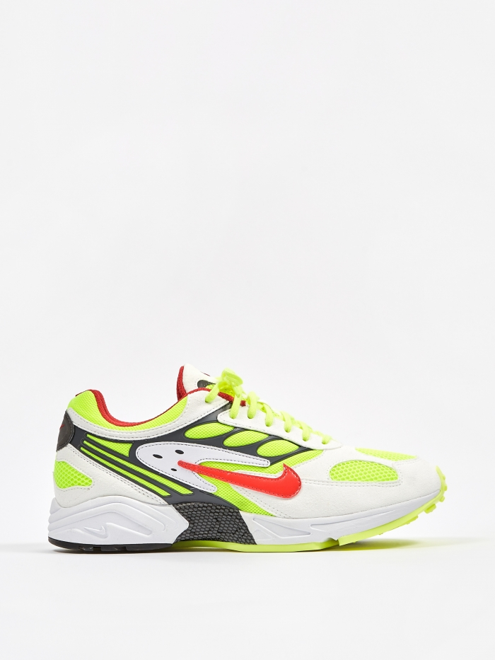 Nike Air Ghost Racer - White/Red/Neon Yellow/Grey (Image 1)