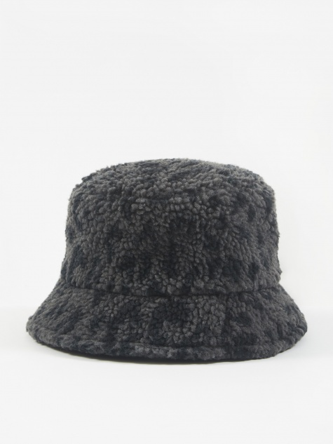 Leopard Fleece Bucket Hat - Navy/Grey