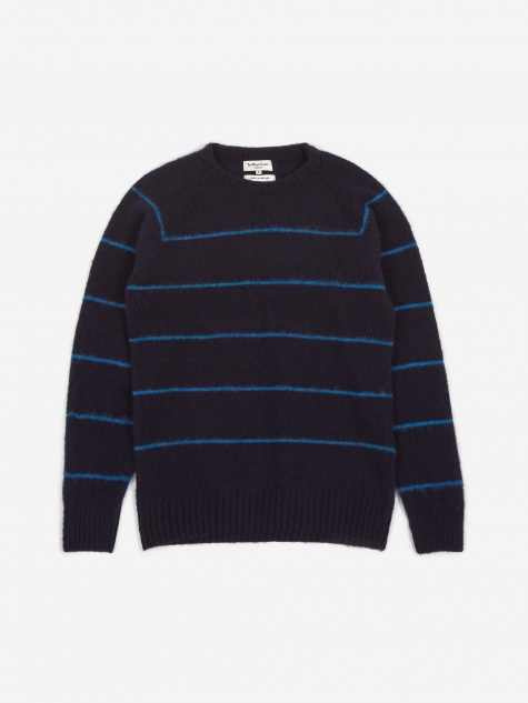 Everyman Stripe Crewneck Jumper - Navy/Blue