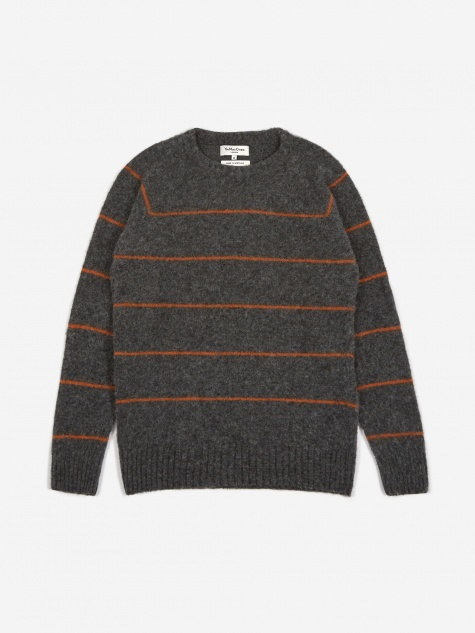 Everyman Stripe Crewneck Jumper - Charcoal/Rust