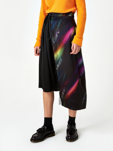 Print Half and Half Skirt - Black/Multi