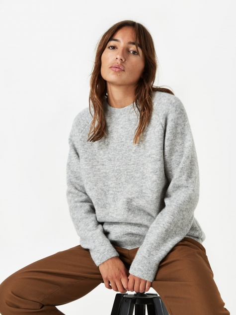 Anja Brushed Jumper - Light Grey Melange