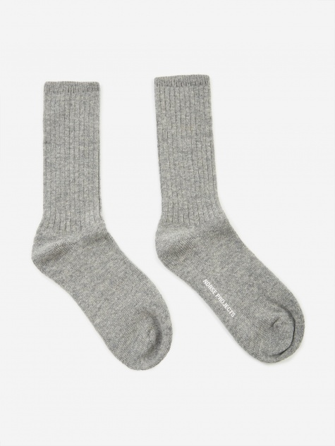 Siggy Wool Sock - Light Grey Melange