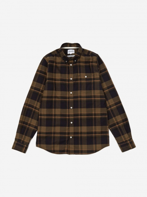 Anton Brushed Flannel Check Shirt - Ivy Green
