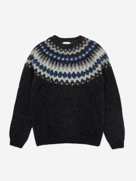 Norse Projects Birnir Fairisle Jumper - Grey Melange