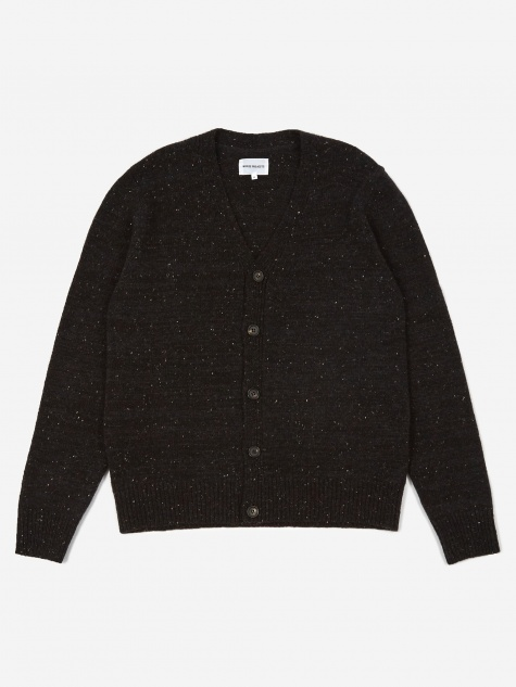 Adam Lambswool Cardigan - Charcoal Melange
