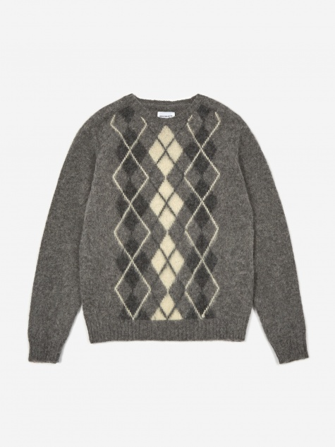 Birnir Brushed Argyle Jumper - Light Grey