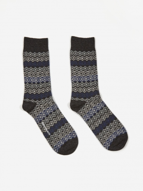 Bjarki Fairisle Socks - Charcoal Melange