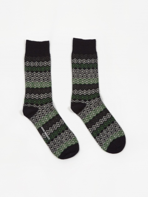 Bjarki Fairisle Socks - Dark Navy