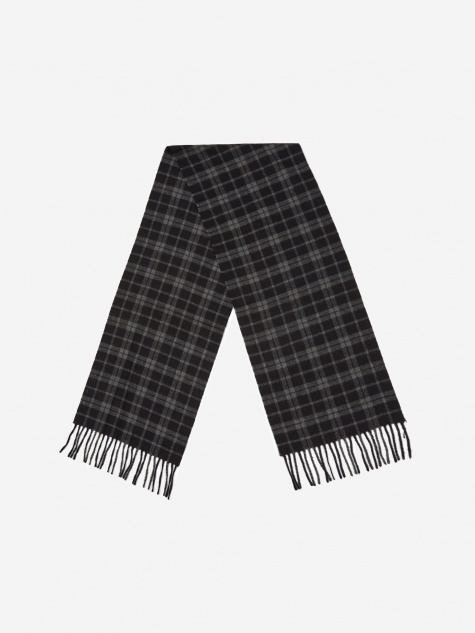 Lambswool Check Scarf - Dark Navy