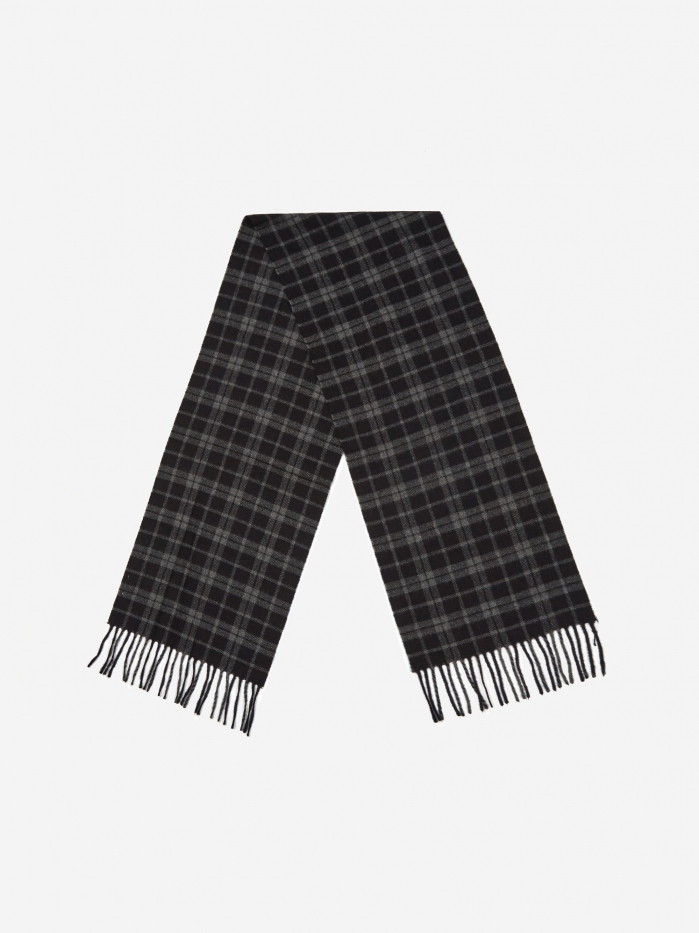 Norse Projects Lambswool Check Scarf - Dark Navy (Image 1)