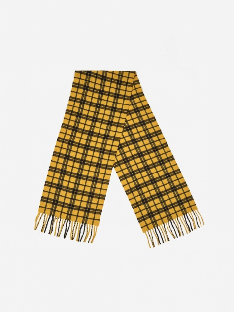 Lambswool Check Scarf - Montpellier Yellow