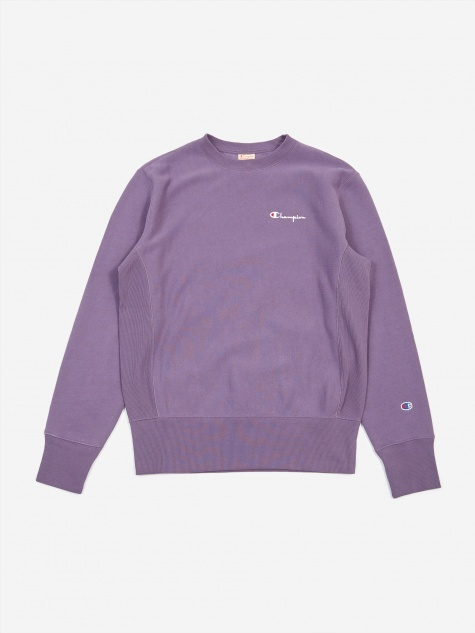 Reverse Weave Small Script Crewneck Sweatshirt - Purple