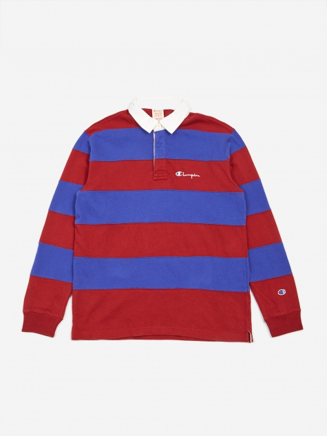 Striped Longsleeve Polo T-Shirt - Red