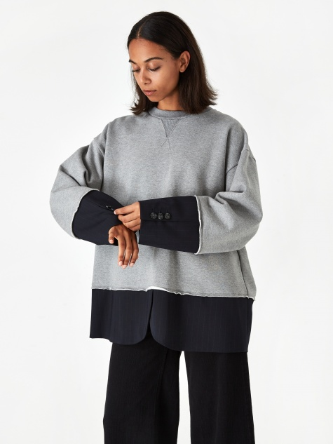 2 in 1 Sweatshirt - Grey Melange