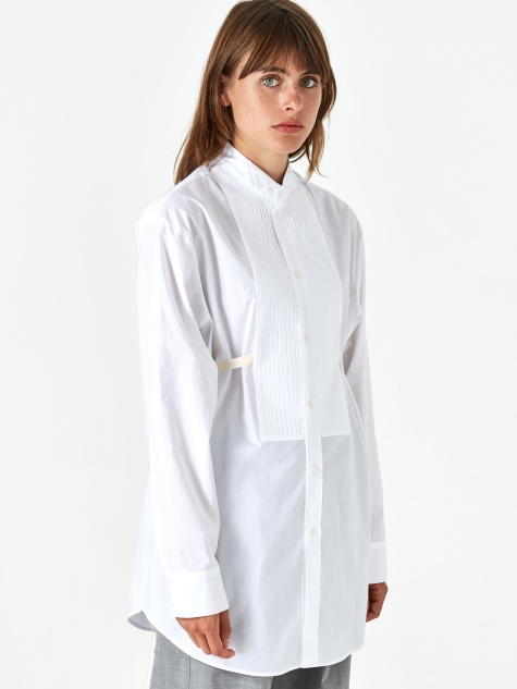 Pleat Front Shirt - White