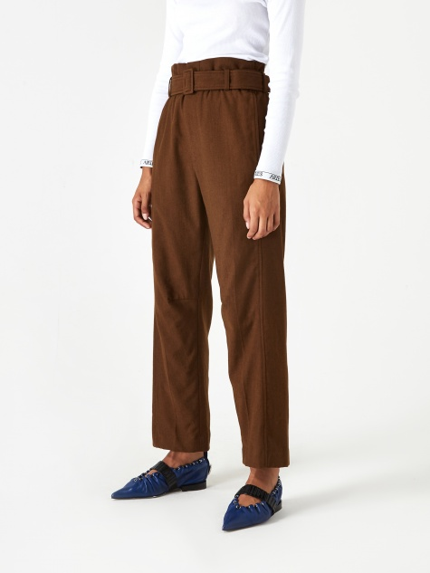 Belted High Waist Trouser - Brown