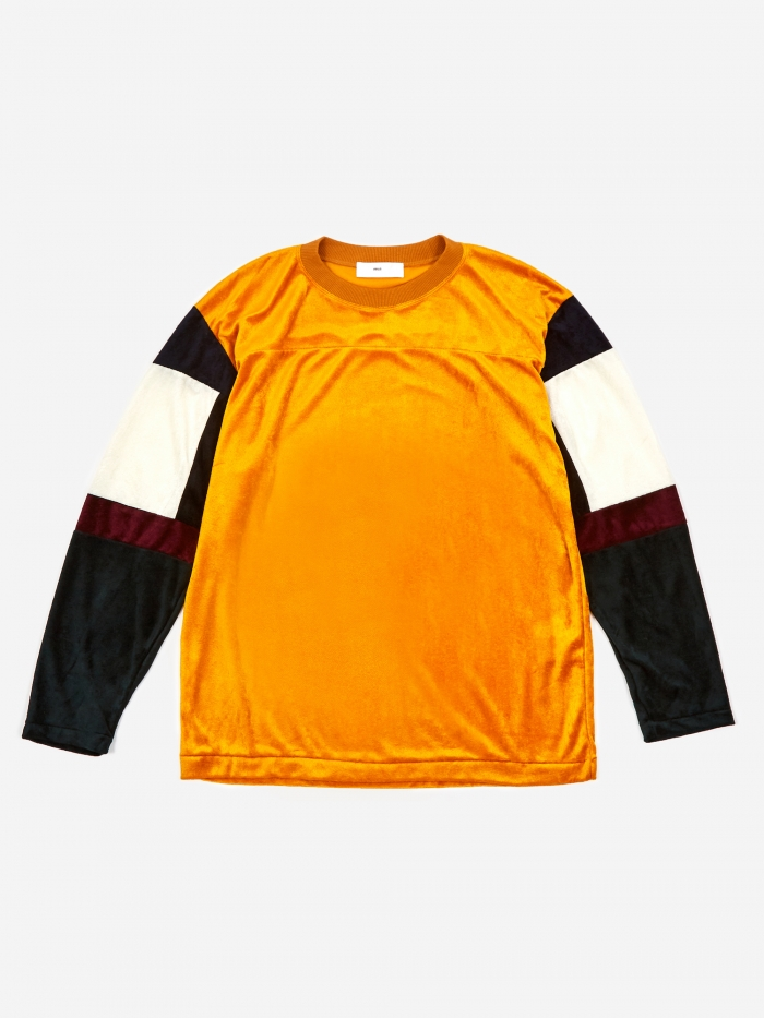 TOGA Virilis Velour Longsleeve T-Shirt - Orange (Image 1)