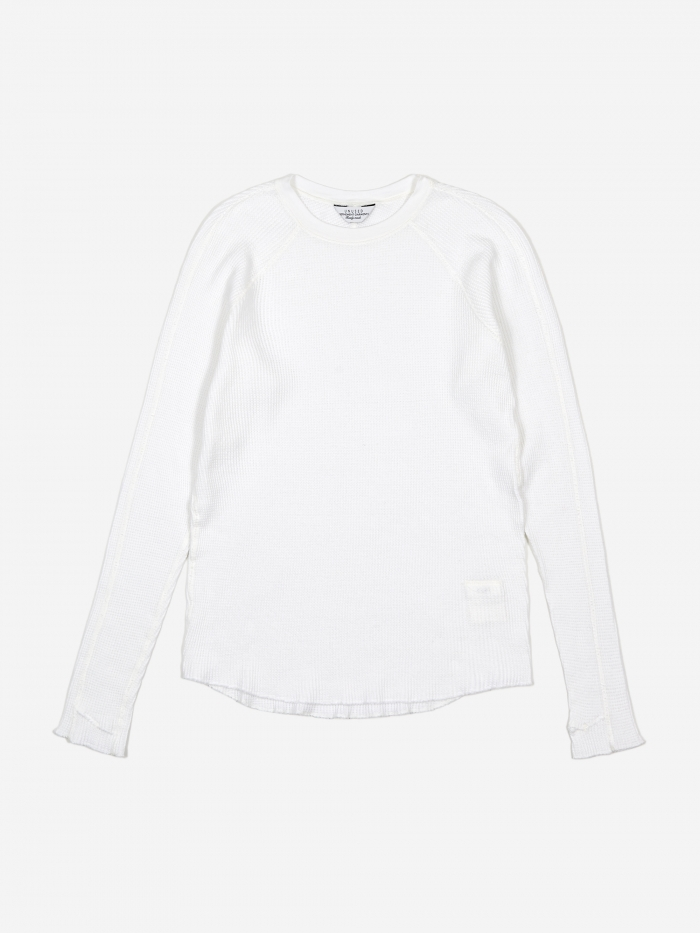 Unused Long Sleeve Waffle T-Shirt - White (Image 1)