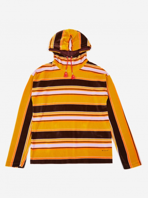 Striped Velour Hooded Sweatshirt - Brown/Orange
