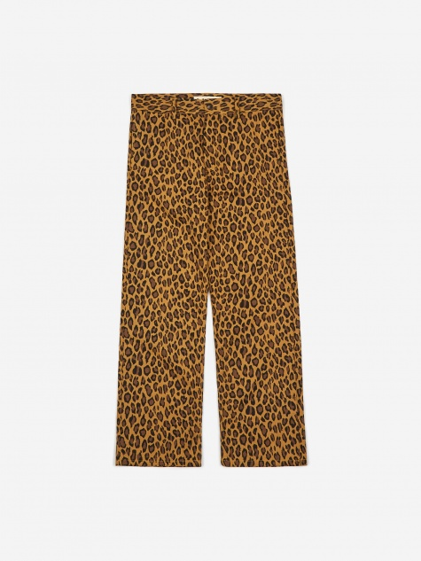 Double Printed Cotton Herringbone Trouser - Leopard