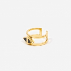 Rachel Entwistle Octa Onyx Double Ring - 18ct Gold Plated