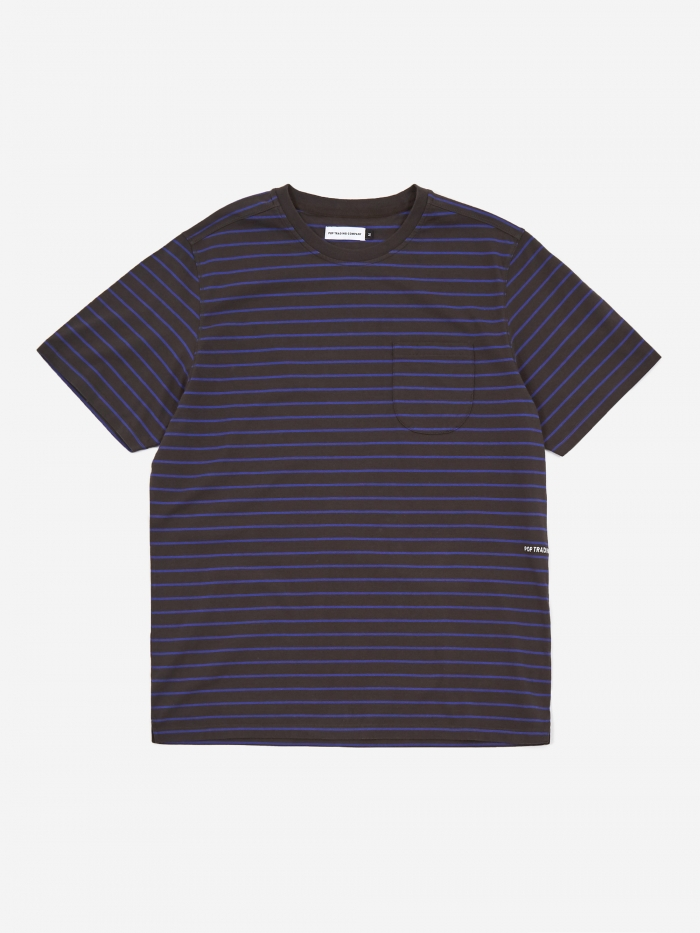 Pop Trading Company Casper Stripe Pocket T-Shirt - Black/Grape (Image 1)