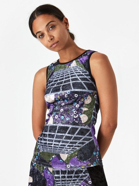 PAM Perks And Mini Far Far Away Velvet Tank Top - Cosmic Camo Pr