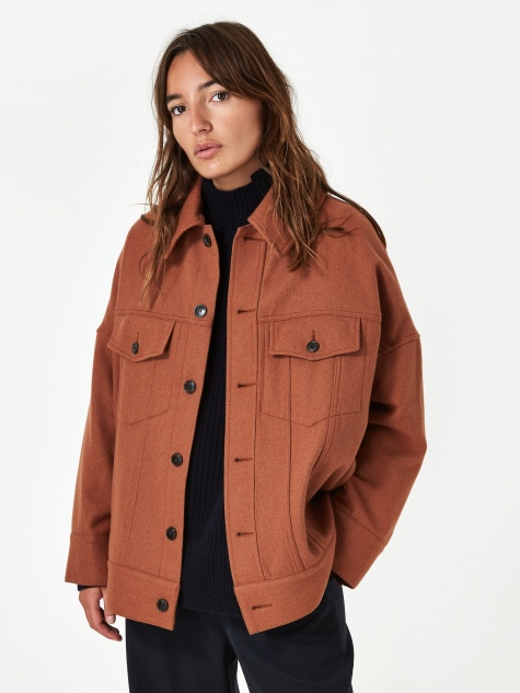 Zucca Light Wool Jacket - Brown