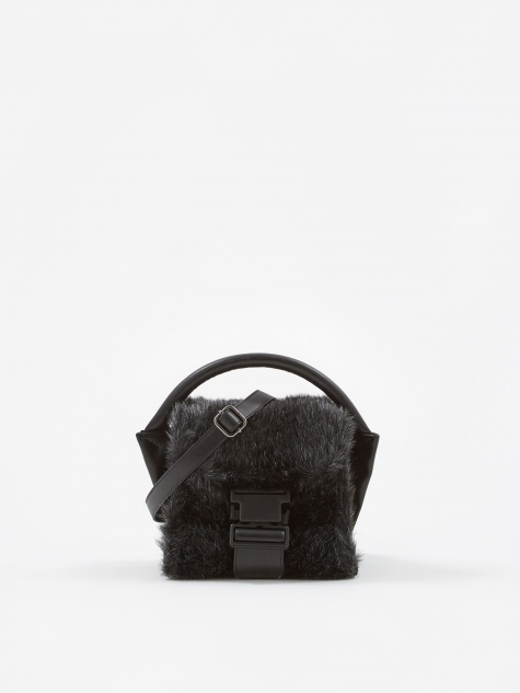 Zucca Buckled Bag Fur - Dark Grey
