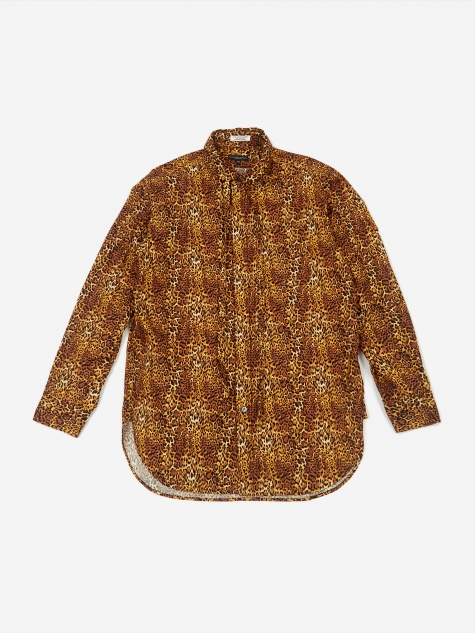 Rounded Collar Shirt - Brown Leopard