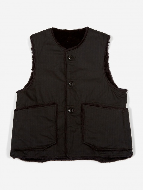 Over Vest  - Black Herringbone Twil