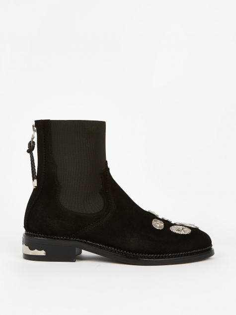 PULLA Studded Suede Boot - Black