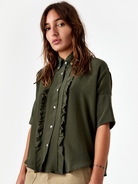 Baby Therese Shirt - Green Silk