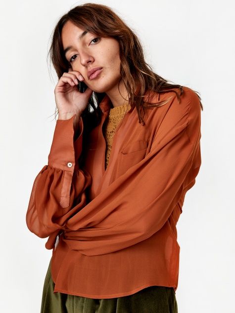 Margot Shirt - Brown Silk