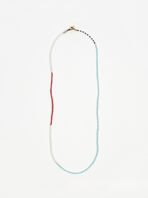 Small Beads Necklace - White/Red