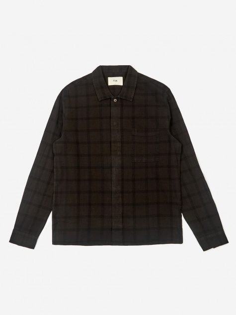 Patch Shirt - Black Overdyed Check