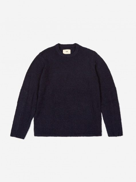 Mixed Textured Crewneck Jumper - Navy