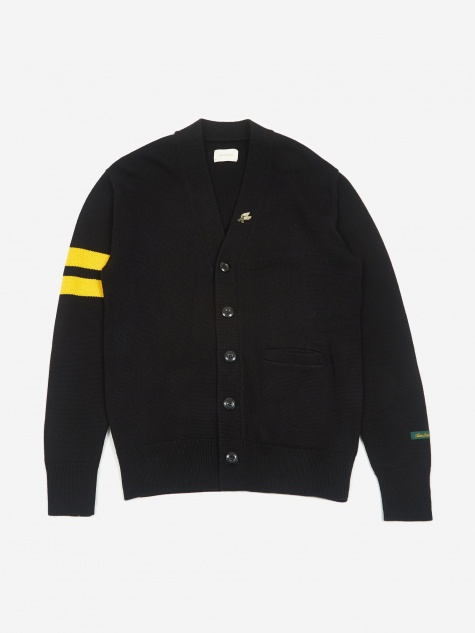Lion Letterman Cardigan - Black