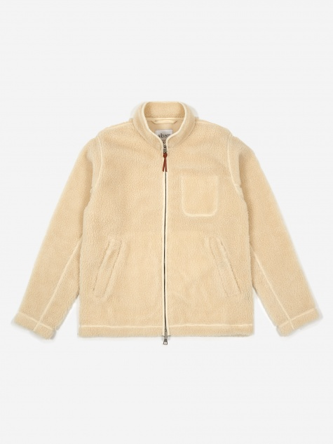 Moleskin Zipped Curly Fleece Jacket - Ecru