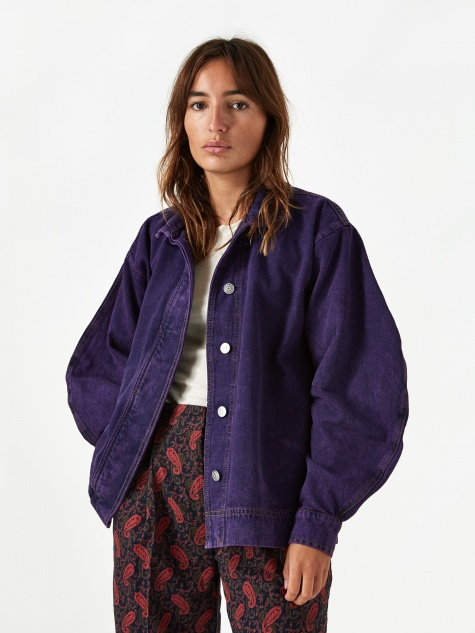 Washed Denim Jacket - Deep Lavender