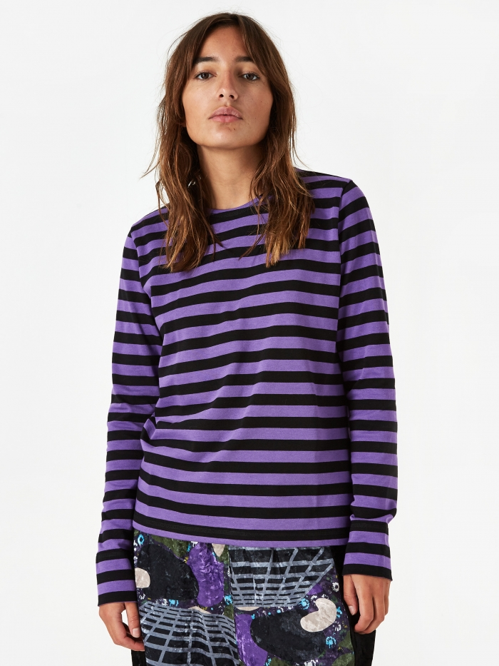 Ganni Striped Cotton Jersey Longsleeve Top - Deep Lavender (Image 1)