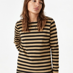 Ganni Striped Cotton Jersey Longsleeve Top - Tigers Eye
